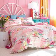 Pink Oriental Flower Duvet Cover Set