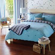 Aqua 'Flight' bed linen