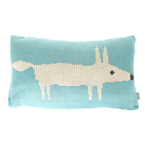 Scion - Aqua knitted fox cushion