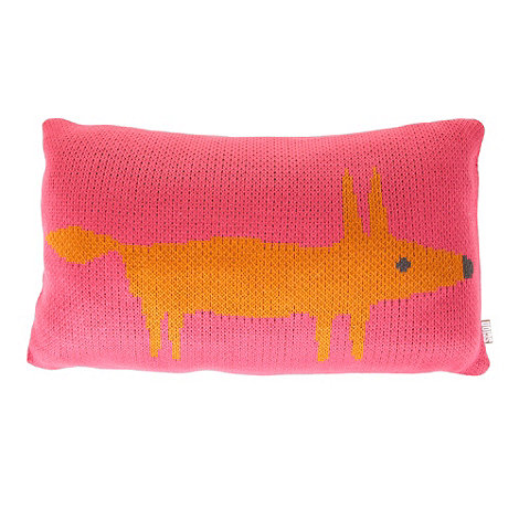 Scion - Pink knitted fox cushion