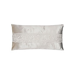 Kylie Minogue at home - Cream embroidered trim velvet cushion