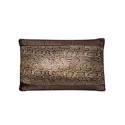 Kylie Minogue at home - Chocolate 'Phoenix' snake print cushion