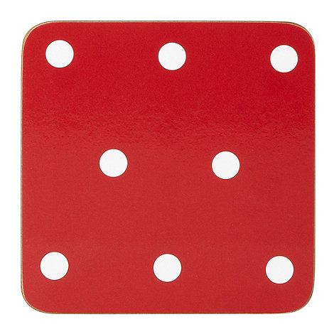 Home Collection Basics - Set of four red spotted coasters