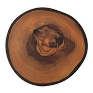Set of four brown olive wood-effect round coasters