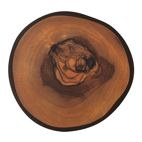 Lifestyle - Set of four brown olive wood-effect round coasters
