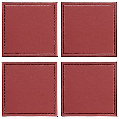 Debenhams - Set of four red faux leather reversible coasters