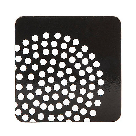 Home Collection Basics - Set of four black spotted circles coasters