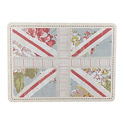 Debenhams - Set of six blue floral 'Union Jack' placemats