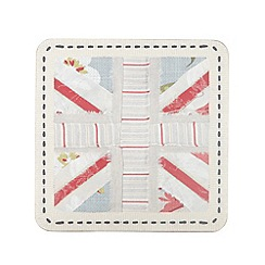 Debenhams - Set of six blue floral 'Union Jack' coasters