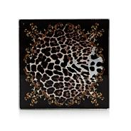 Designer set of four black leopard patterned square coasters