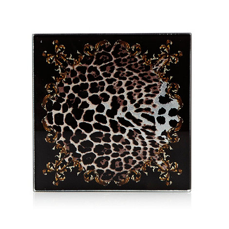 Star by Julien Macdonald - Designer set of four black leopard patterned square coasters
