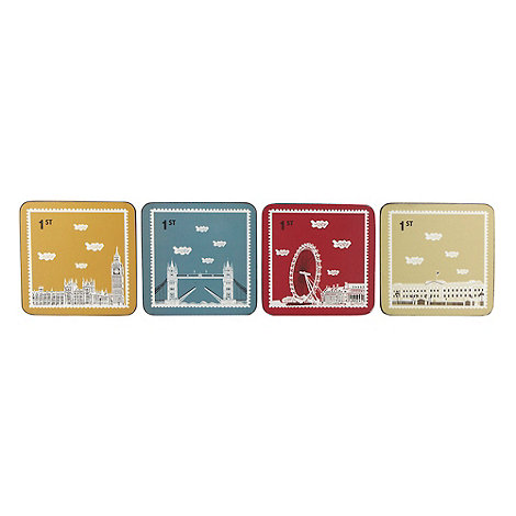 Yukari Sweeney/EDITION - Set of four cork London stamp coasters