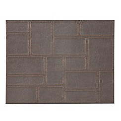 Inspire - Set of four brown faux leather patchwork place mats