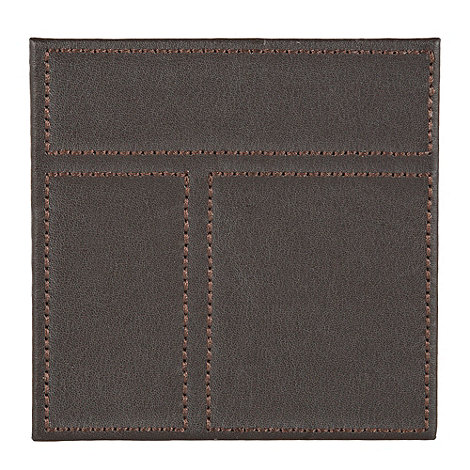 Inspire - Set of four brown faux leather patchwork coasters