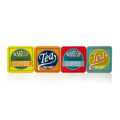 Ben de Lisi Home - Set of four turquoise +Tea+ coasters