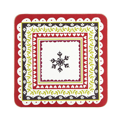 At home with Ashley Thomas - Set of four red Christmas coasters