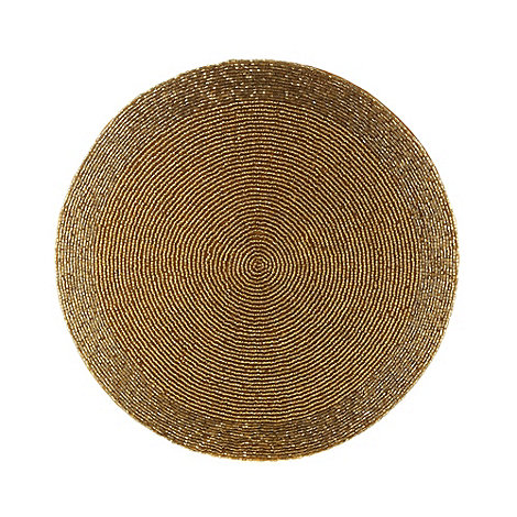 Debenhams - Gold beaded round placemat
