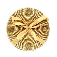 Set of four gold beaded coasters