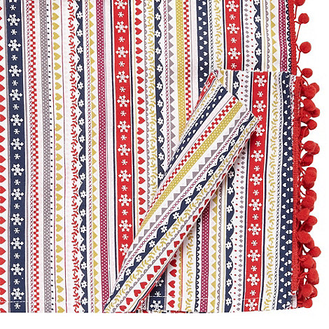 At home with Ashley Thomas - Set of two red fairisle striped napkins