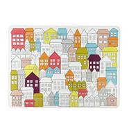 Designer set of four white houses placemats