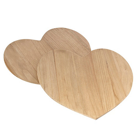 Debenhams - Set of four wooden heart-shaped coasters