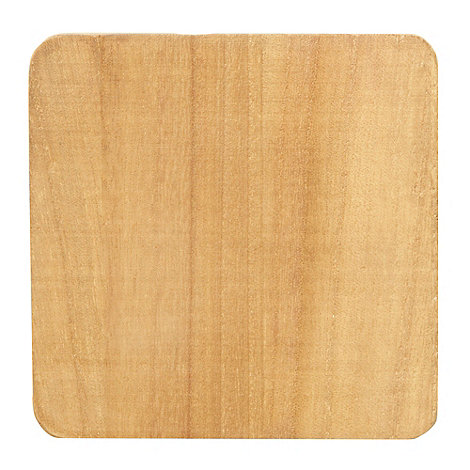 Debenhams - Set of four light brown wooden coasters
