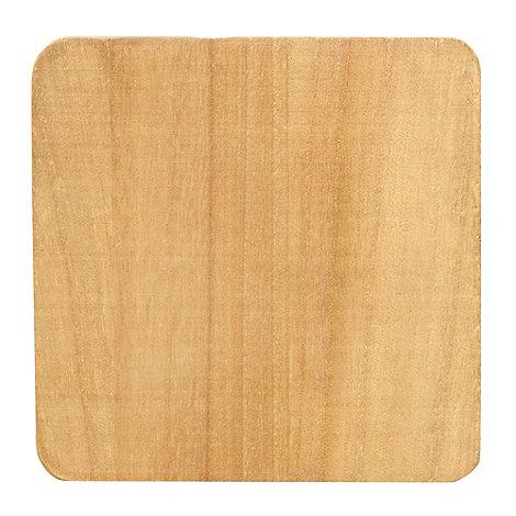 Debenhams - Set of four light brown wooden coasters