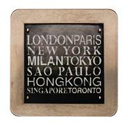 Set of four black 'UK Text' coasters