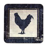 Set of four dark grey 'Vintage Chicken' coasters