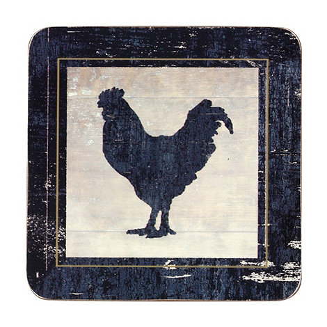 Inspire - Set of four dark grey +Vintage Chicken+ coasters