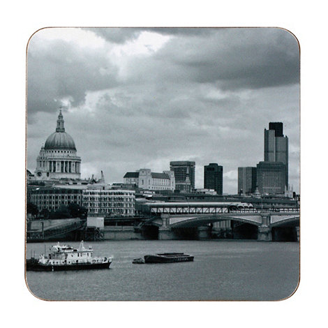 Inspire - Set of four black photograph London skyline coasters