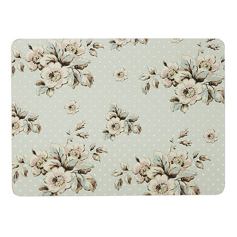 Katie Alice - Set of six turquoise spotted floral rectangular place mats