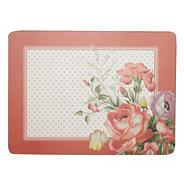 Set of six red spotted floral placemats