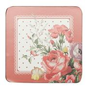Set of six red spotted floral coasters