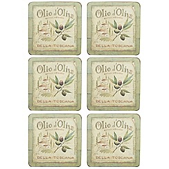 Creative Tops - Set of six 'Olive Oil' slogan motif square coasters