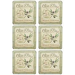 Creative Tops - Set of six 'Olive Oil' slogan motif square coasters