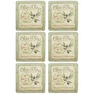 Set of six 'Olive Oil' slogan motif square coasters