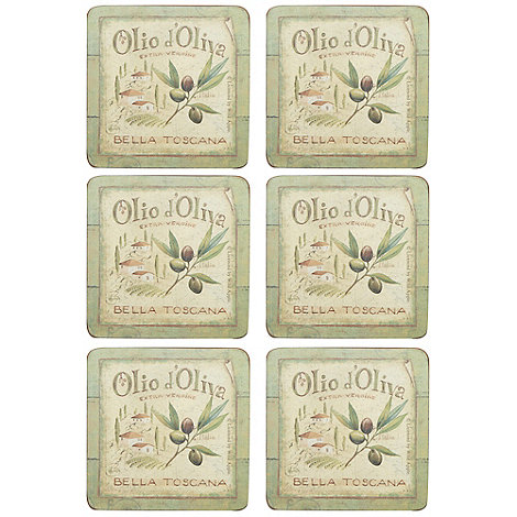 Creative Tops - Set of six +Olive Oil+ slogan motif square coasters