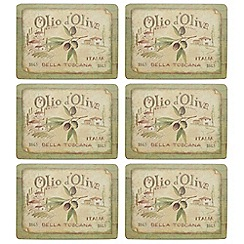 Creative Tops - Set of six 'Olive Oil' slogan motif rectangular placemats