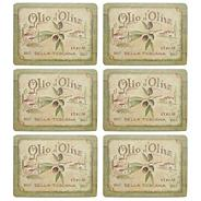 Set of six 'Olive Oil' slogan motif rectangular place mats