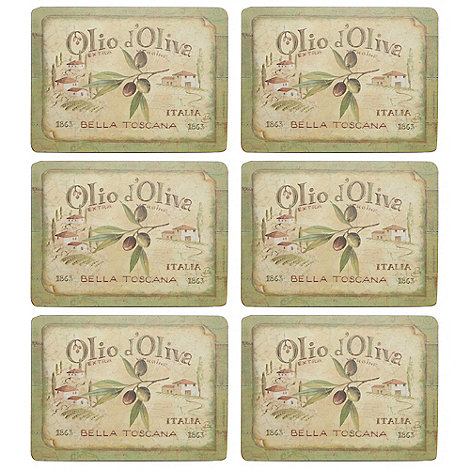 Creative Tops - Set of six +Olive Oil+ slogan motif rectangular place mats