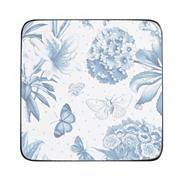 Set of six blue 'Botanic' coasters