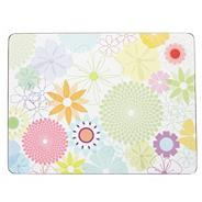 Set of six white floral placemats