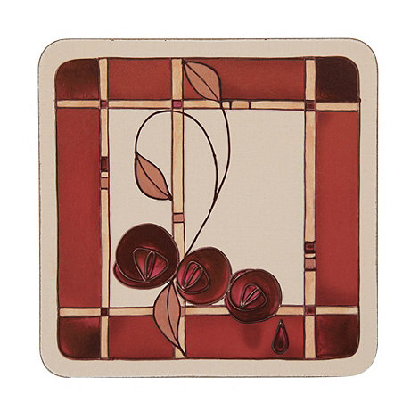 Inspire - Set of six rose motif square coasters