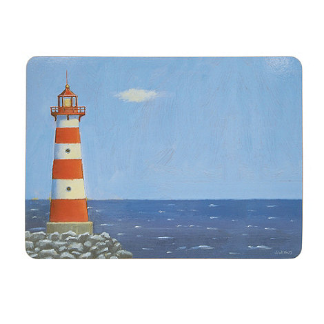 Inspire - Pack of six blue lighthouse printed placemats