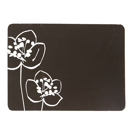Betty Jackson.Black - Designer set of 6 black poppy print placemats