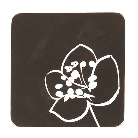 Betty Jackson.Black - Designer set of 6 black poppy print coasters