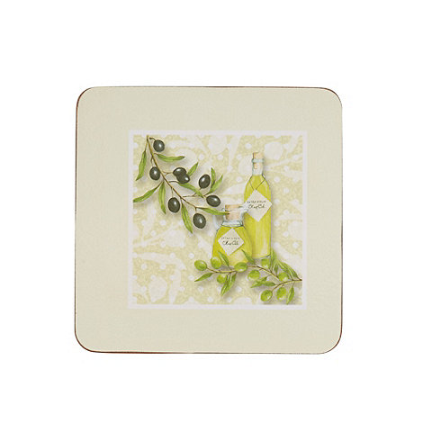 Inspire - Set of six green olive printed coasters