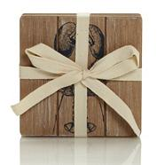 Set of four designer wooden 'Coastal' square coasters