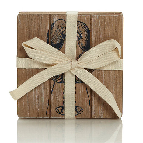 J by Jasper Conran - Set of four designer wooden +Coastal+ square coasters